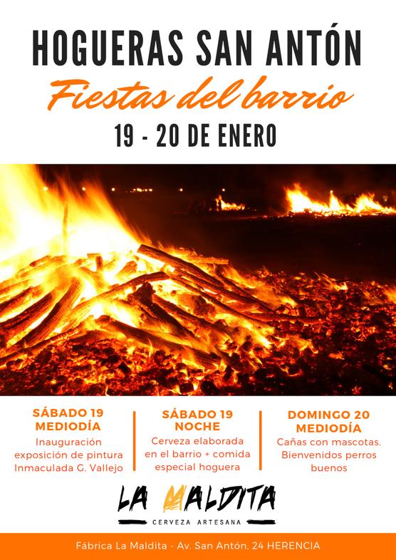 """Hogueras San Antón 1 - Exposición de pintura: """"San Antón, fuego y color"""" de Inmaculada G. Vallejo en La Maldita"""