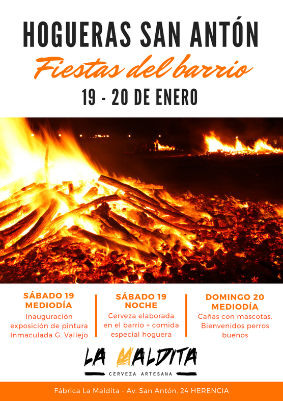 """Hogueras San Ant%C3%B3n 1 - Exposición de pintura: """"San Antón, fuego y color"""" de Inmaculada G. Vallejo en La Maldita"""