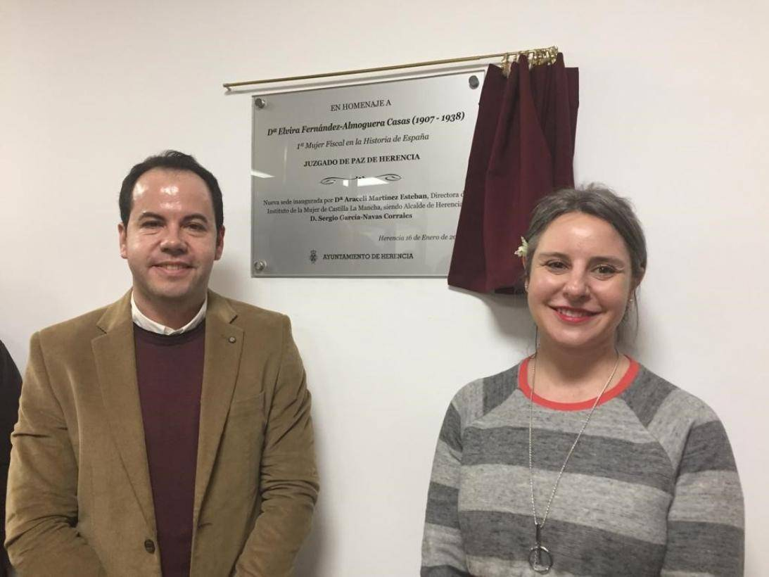 Sergio García Navas y Araceli Martinez en Herencia - Homenaje a la pionera Elvira Fernández-Almoguera Casas