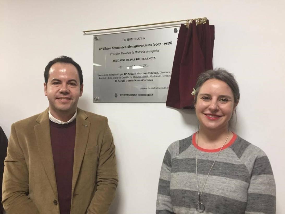 Sergio Garc%C3%ADa Navas y Araceli Martinez en Herencia - Homenaje a la pionera Elvira Fernández-Almoguera Casas