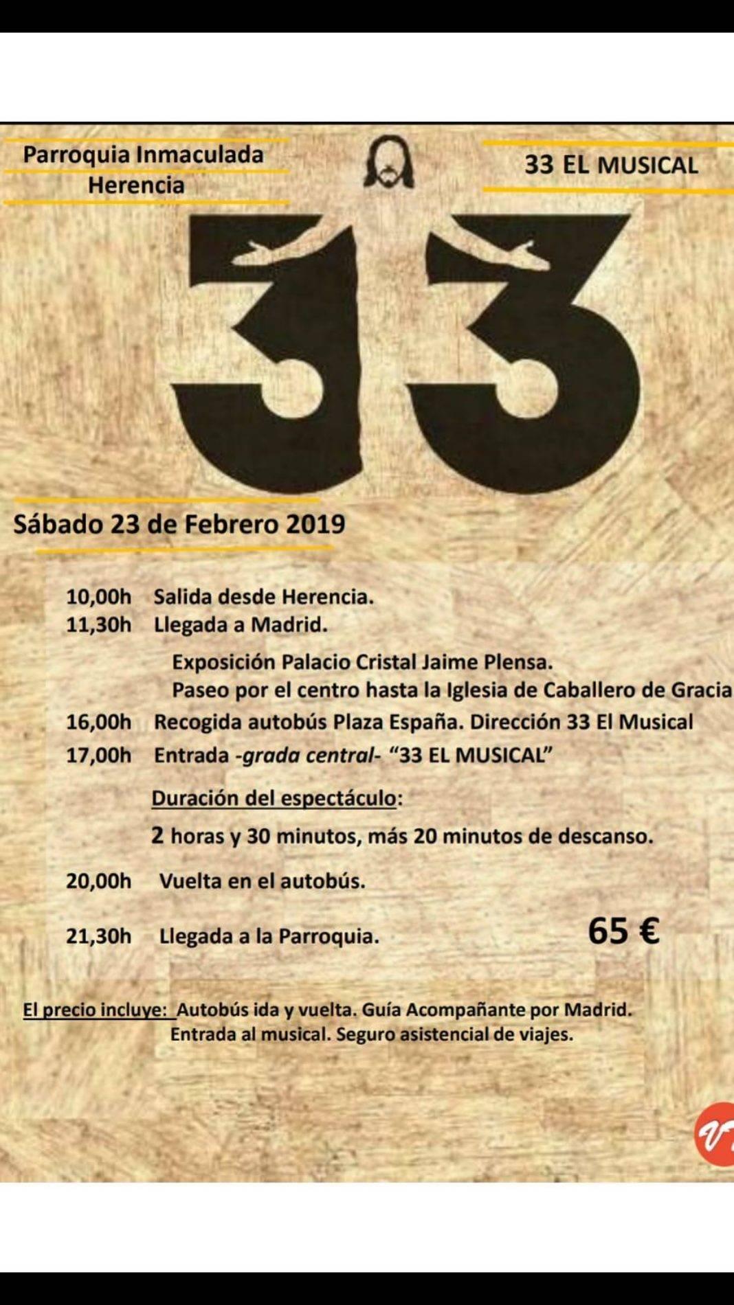 """Unknown 1068x1900 - La parroquia organiza un viaje para asistir a """"33 El Musical"""""""