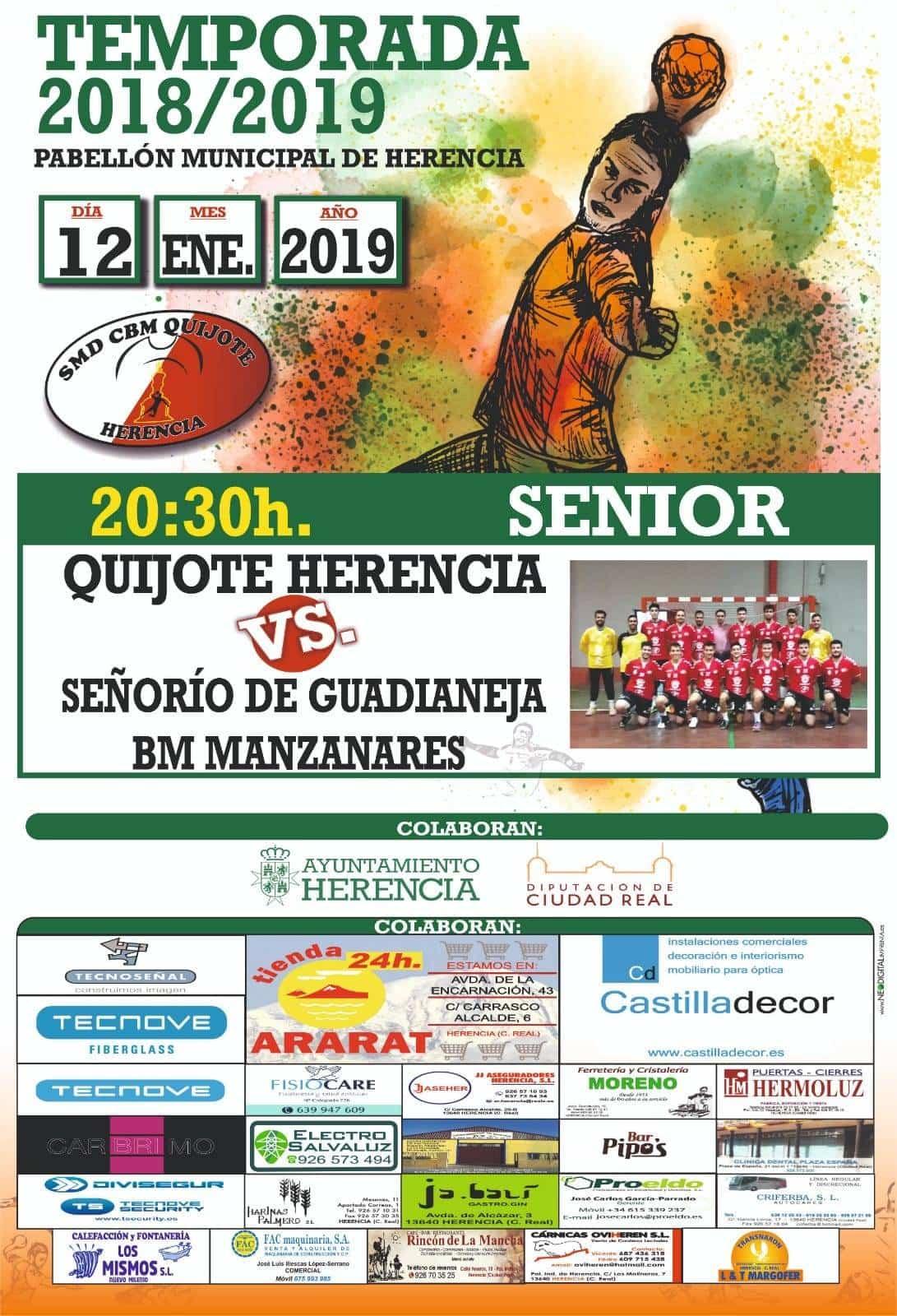 balonmano quijote herencia bm manzanares cartel completo - Balonmano en Herencia: Quijote Herencia vs BM Manzanares este 12 de enero