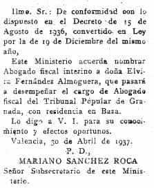 Elvira Fernández-Almoguera Casas, primera fiscal en la historia de España 76