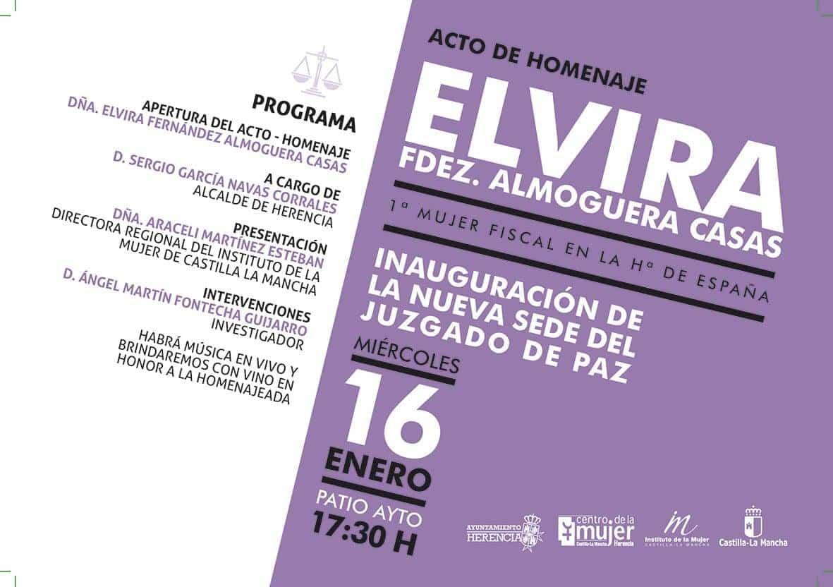 Programa Esta inauguración contará con un acto de homenaje a Elvira Fernández Almoguera Casas, 1ª mujer fiscal de Hª de España.