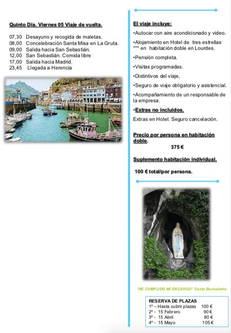peregrinacion parroquial a Lourdes1 - La parroquia de Herencia prepara un viaje-peregrinación a Lourdes