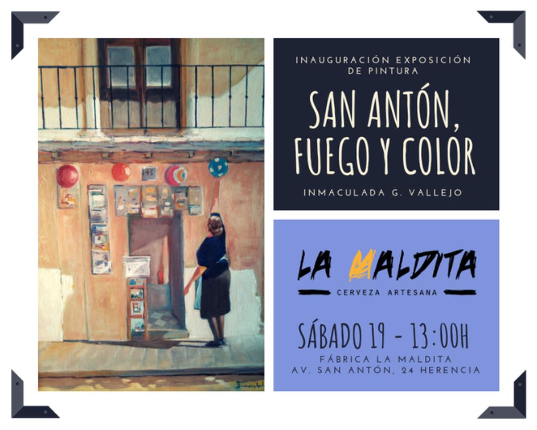 """san antón fuego y color 1068x855 - Exposición de pintura: """"San Antón, fuego y color"""" de Inmaculada G. Vallejo en La Maldita"""