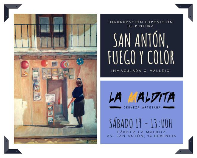 """san ant%C3%B3n fuego y color - Exposición de pintura: """"San Antón, fuego y color"""" de Inmaculada G. Vallejo en La Maldita"""