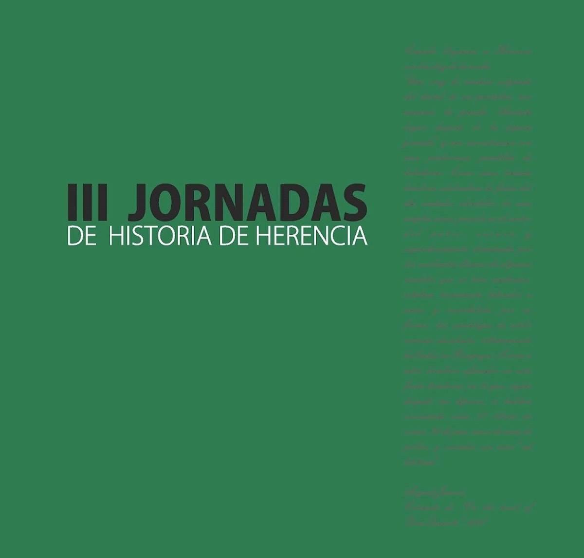 III jornadas de Historia de Herencia - A la venta el libro de las terceras jornadas de historia de Herencia