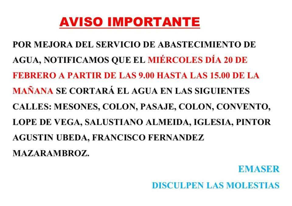 aviso emaser 20 febreo 2019 - Cortes de agua el 20 de febrero 2019 en Herencia
