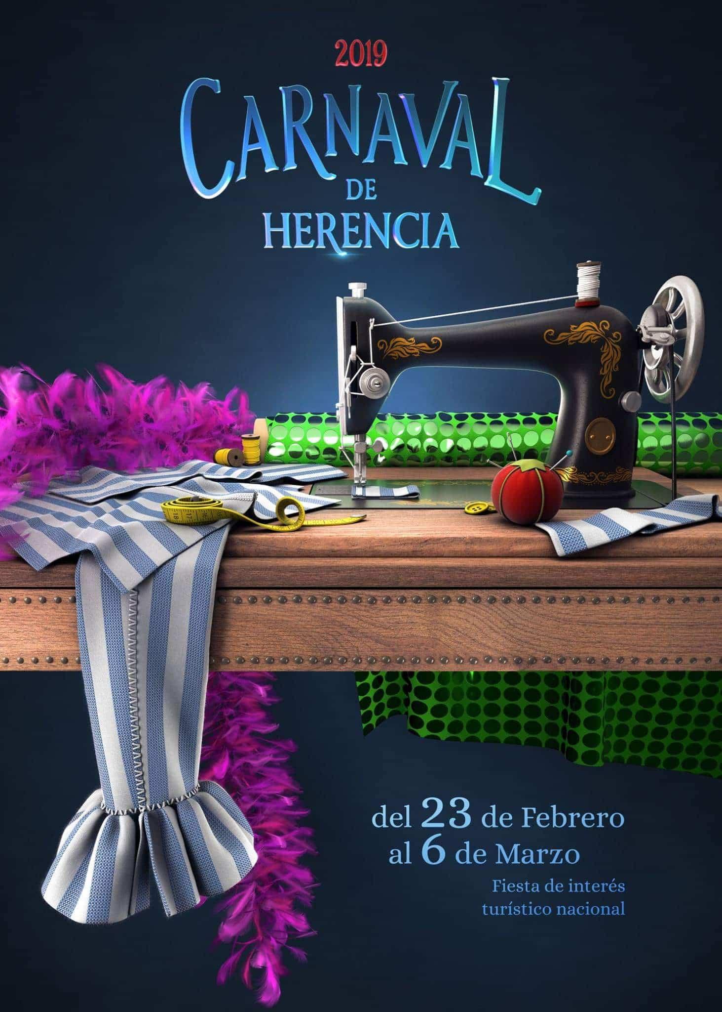 cartel de carnaval de herencia 2019 ciudad real - Programación del Carnaval de Herencia 2019, Fiesta de Interés Turístico Nacional