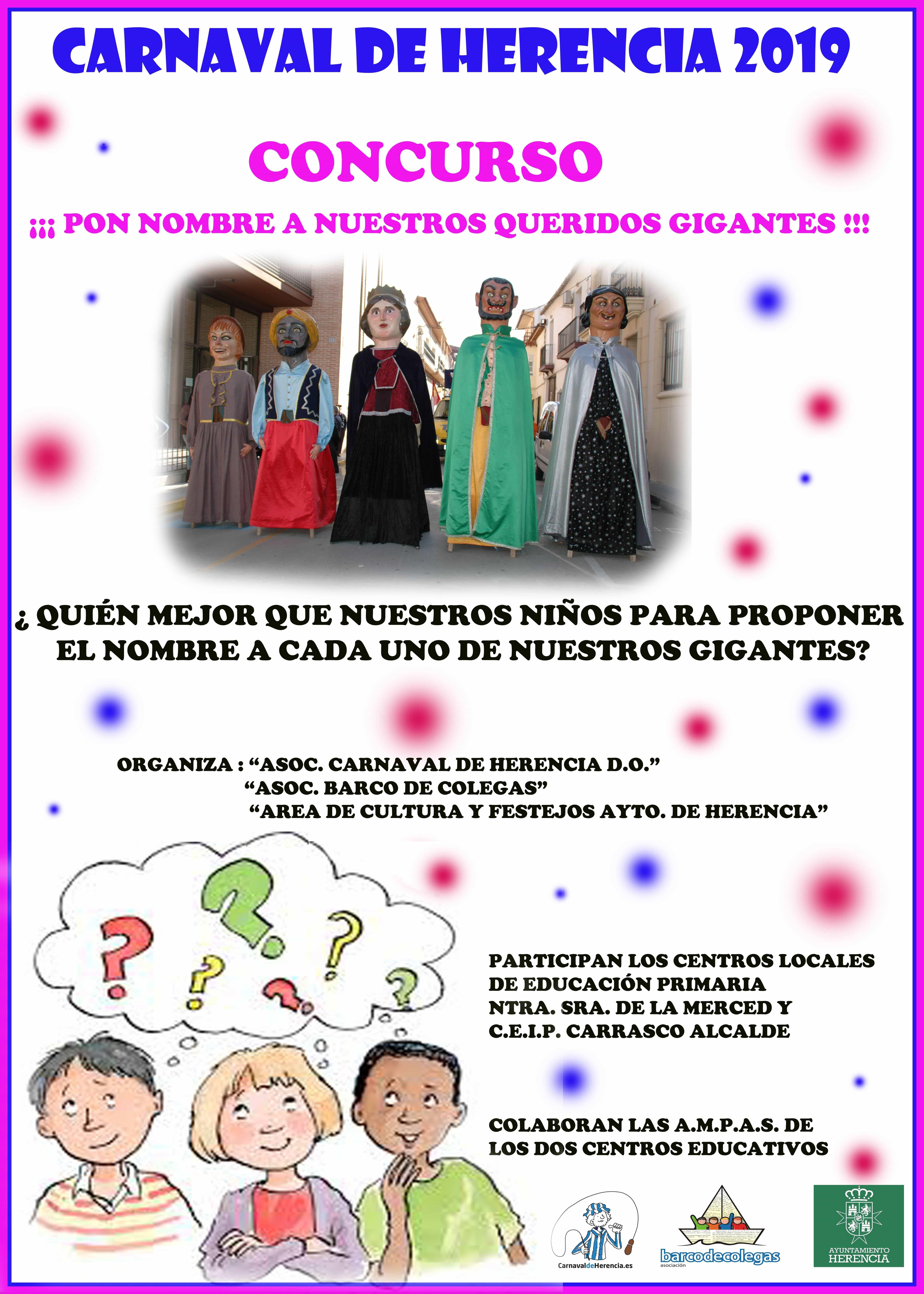 """Concurso """"Pon nombre a nuestros queridos Gigantes"""" del Carnaval de Herencia"""