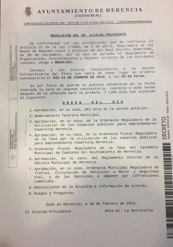 convocatoria pleno herencia 21 febrero 2019 - Sesión extraordinaria del Pleno este jueves 21 de febrero
