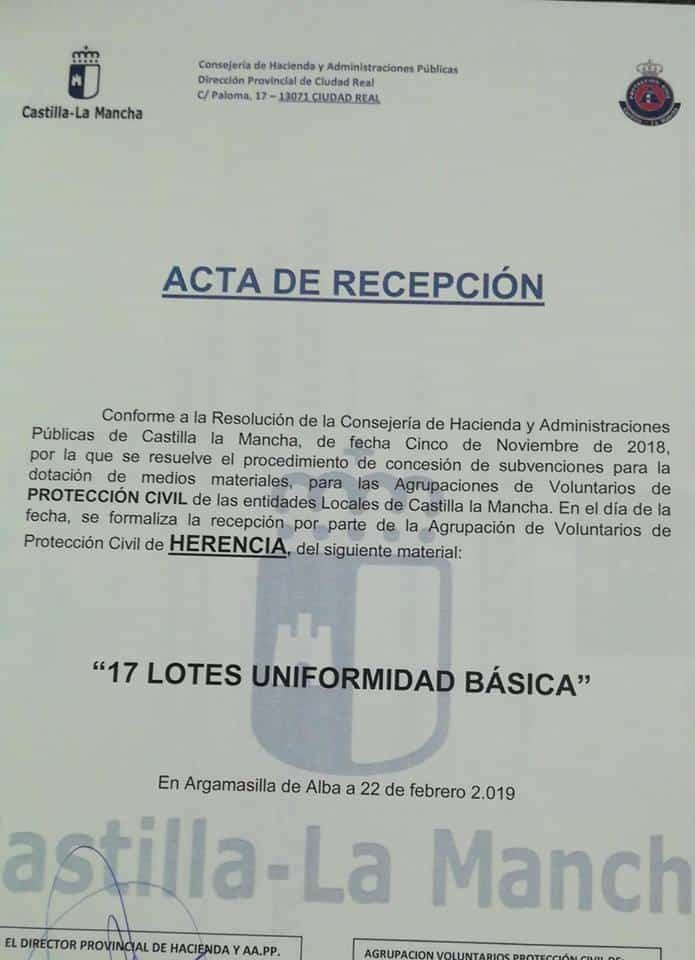Acta de Recepción en Entrega de material subvencionado para Protección Civil