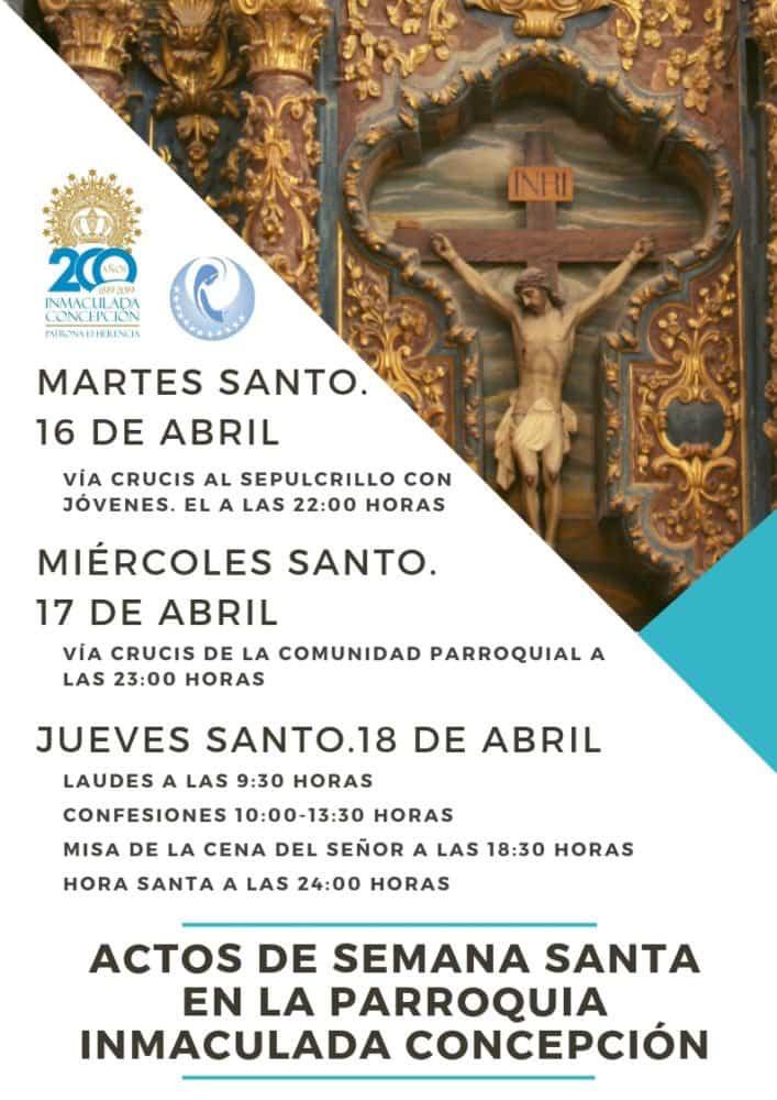 ACTOS PARROQUIA 2 707x1000 - Celebraciones de Semana Santa en la iglesia parroquial de la Inmaculada