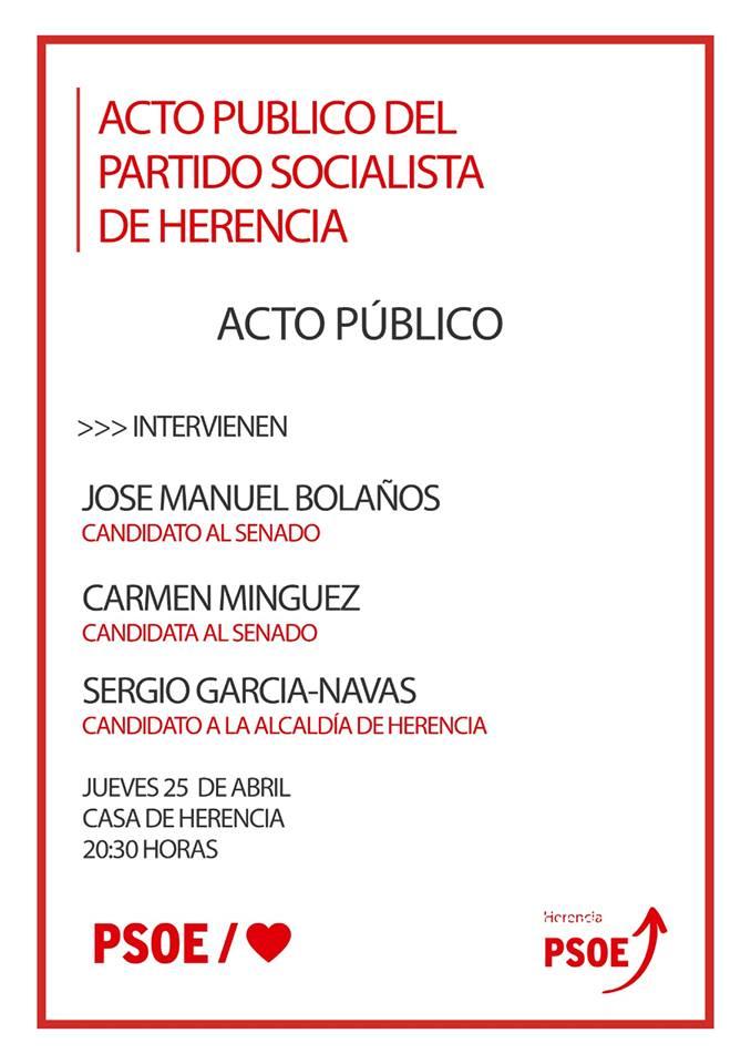 Acto p%C3%BAblico PSOE elecciones 28A - Acto público del PSOE en la Casa de Herencia