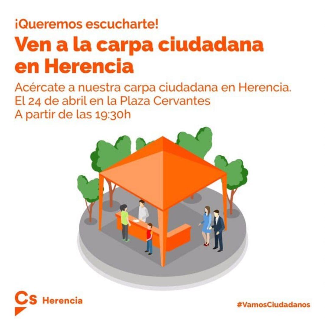 Carpa ciudadana en Herencia 1068x1068 - La carpa de Ciudadanos se instalará en la plaza Cervantes