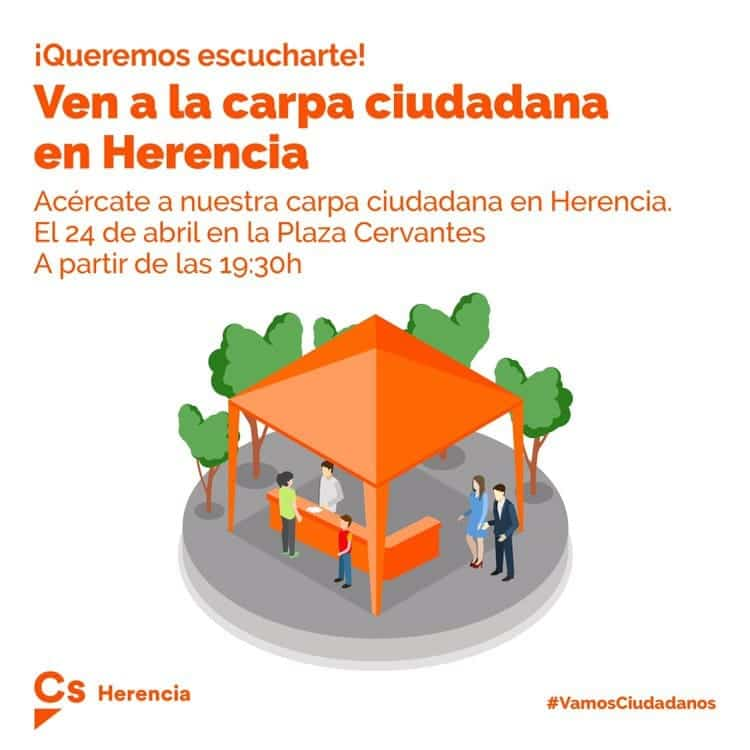 Carpa ciudadana en Herencia - La carpa de Ciudadanos se instalará en la plaza Cervantes