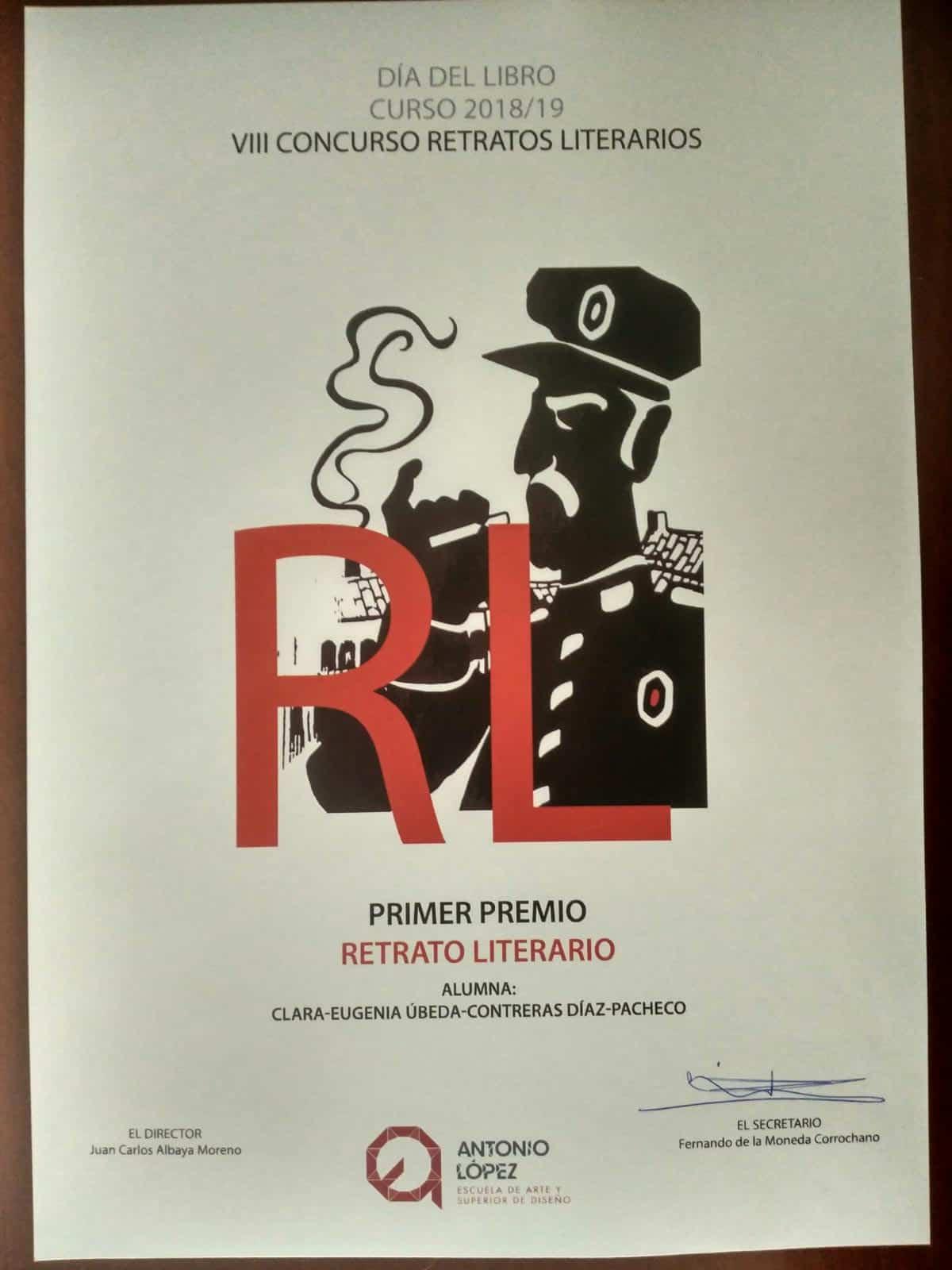Concurso de retratos literarios - Clara Eugenia Úbeda-Contreras Díaz-Pacheco gana el octavo concurso de retratos literarios de la Escuela de Artes de Tomelloso