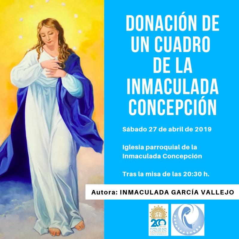 Donaci%C3%B3n Cuadro - Inmaculada García Vallejo dona un cuadro de la Inmaculada Concepción a la parroquia de Herencia