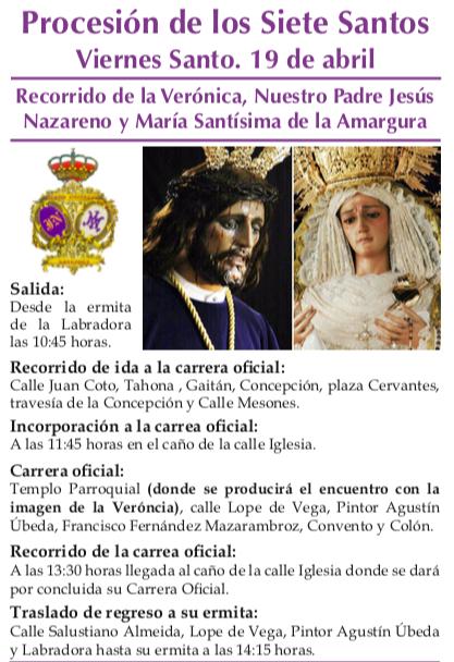 Itinerario de Los Moraos Procesión de los 7 Santos1 - Recorrido y horarios de la procesión de los 7 Santos