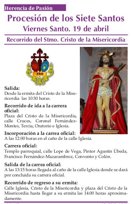 Itinerario del Cristo Procesión de los 7 Santos1 - Recorrido y horarios de la procesión de los 7 Santos