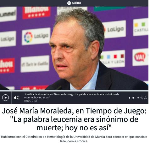"""José María Moraleda en la cadena Cope - José María Moraleda habla en """"Tiempo de Juego"""" sobre leucemia"""
