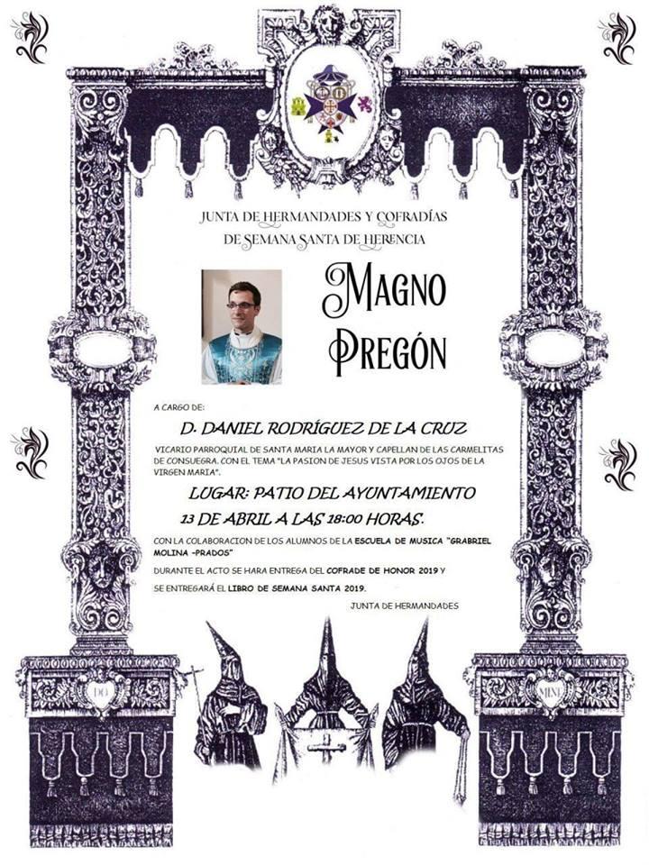 Magno pregón de Semana Santa - Pregón y entrega del libro-guía de la Semana Santa de Herencia 2019