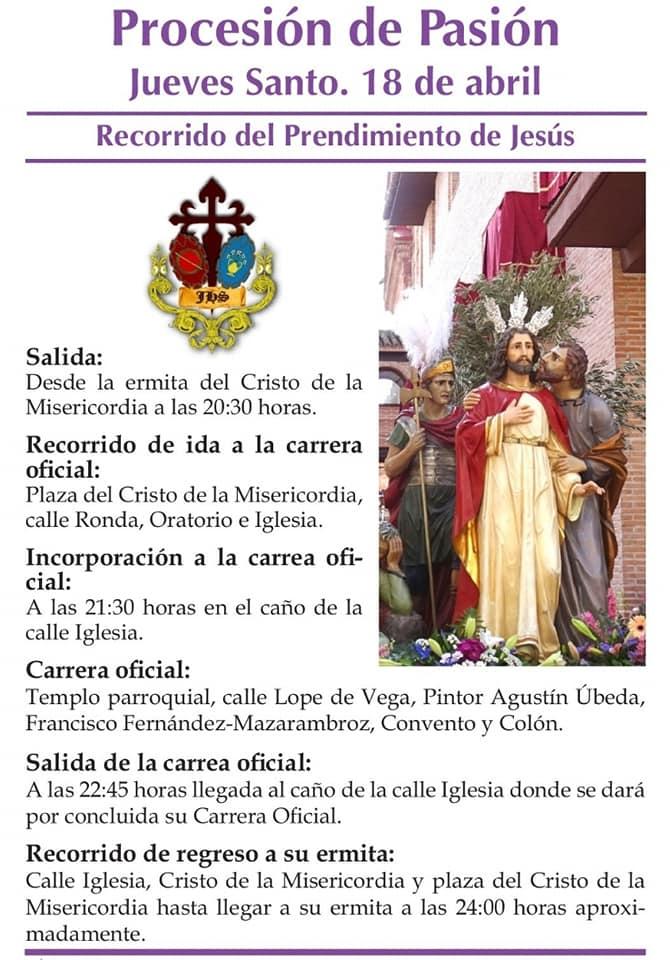 Procesión de la Pasión Jueves Santo Recorrido Prendimiento de Jesús - Recorridos y horarios de la procesión de la Pasión