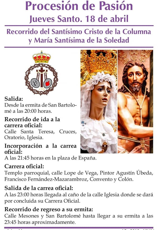 Procesión de la Pasión Jueves Santo Recorrido hermandad de El Santo - Recorridos y horarios de la procesión de la Pasión