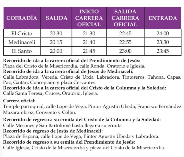 Procesi%C3%B3n de la Pasi%C3%B3n de Herencia - Recorridos y horarios de la procesión de la Pasión