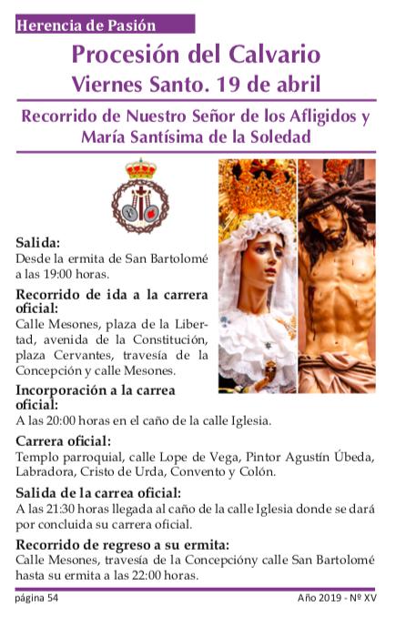 Procesión del Calvario - Recorrido y horarios de la procesión del Calvario