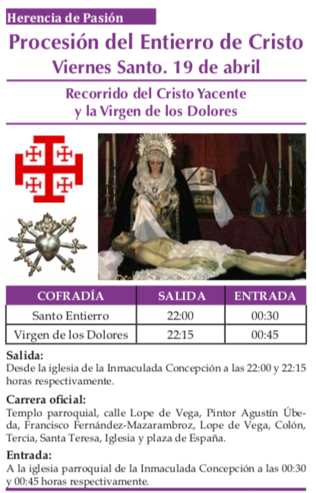Recorrido y horarios de la procesión del Entierro de Cristo 3