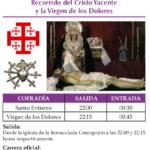 Recorrido y horarios de la procesión del Entierro de Cristo