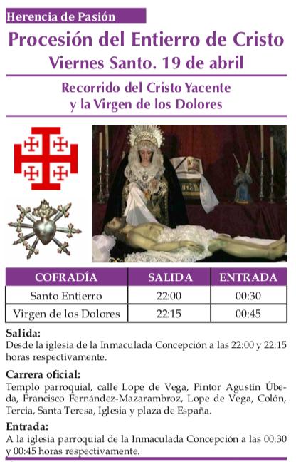Recorrido y horarios de la procesión del Entierro de Cristo 1