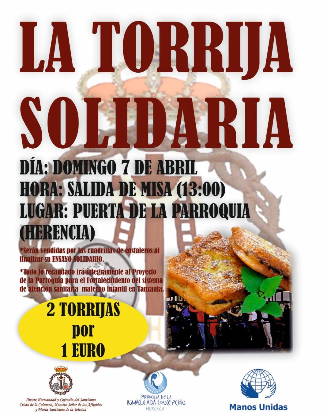 Torrija solidaria 1068x1354 - Los costaleros de El Santo realizarán un ensayo solidario con venta de torrijas
