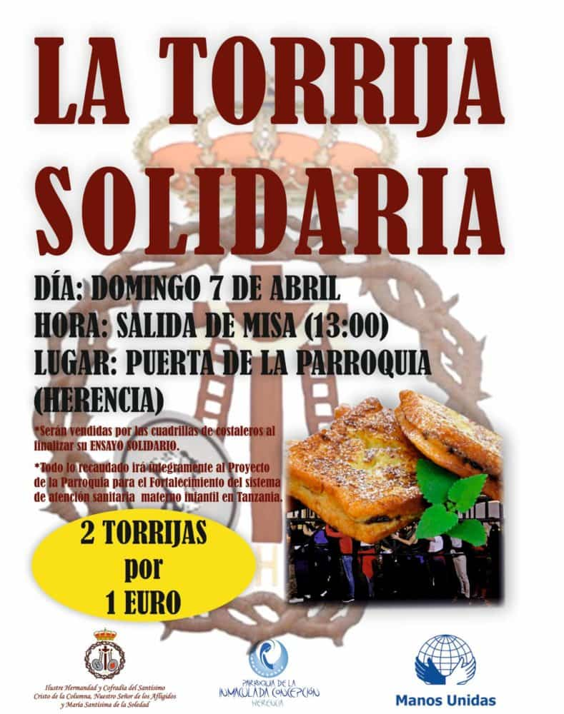 Torrija solidaria 789x1000 - Los costaleros de El Santo realizarán un ensayo solidario con venta de torrijas
