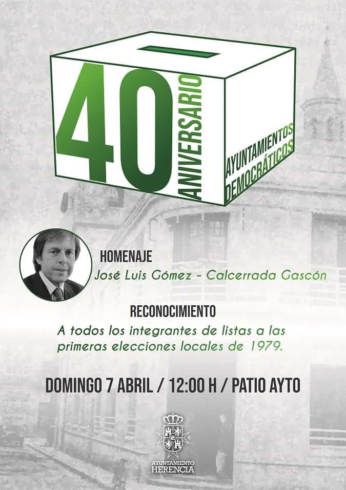 Herencia conmemora la celebración de las primeras elecciones democráticas con un homenaje a José Luis Gómez-Calcerrada Gascón y un reconocimiento a las primeras candidaturas municipales 1