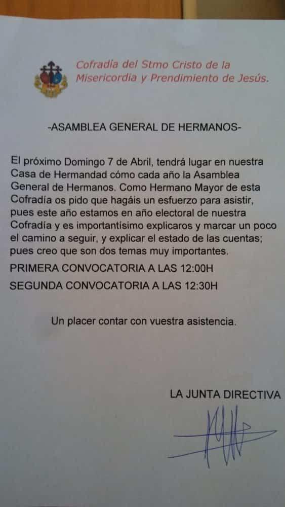 Próxima Asamblea General de Hermanos de El Cristo en Herencia.