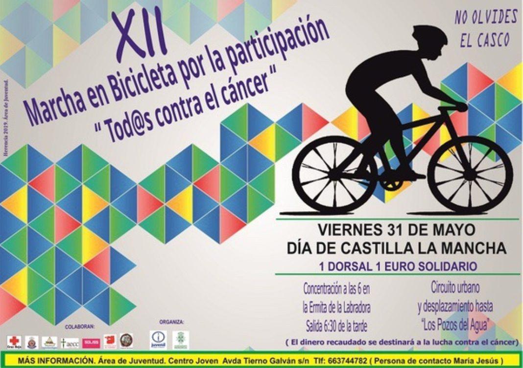 Cartel 12 Marcha en Bicicleta 1068x753 - Juventud organiza su XII Marcha en Bicicleta «Todos contra el cáncer»