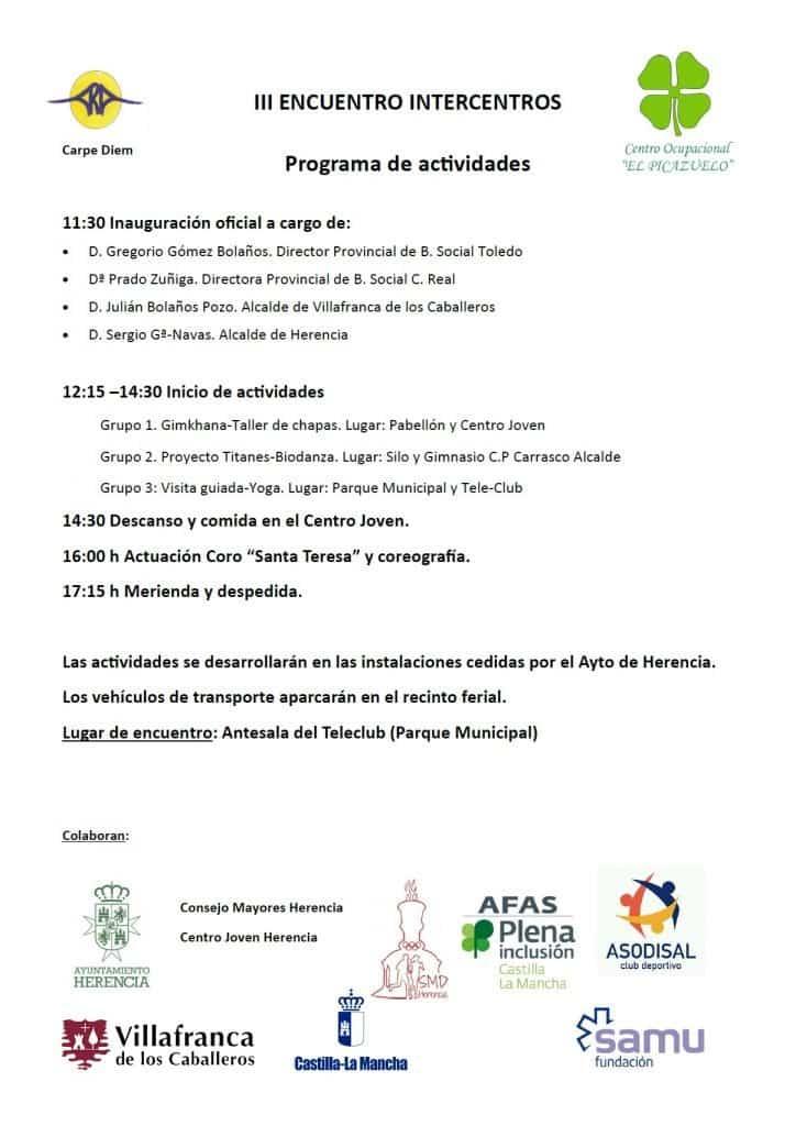 Folleto programa encuentro 724x1024 - Herencia acoge el III Encuentro Intercentros «Mancha Centro» de personas con capacidades diferentes