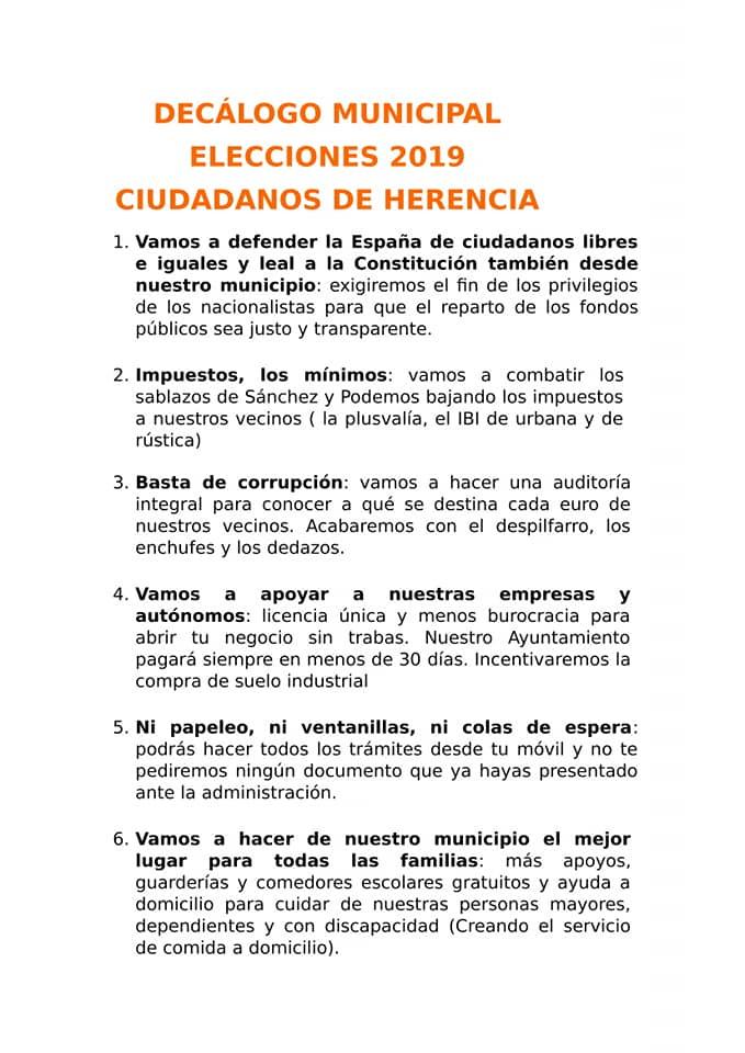 dec%C3%A1logo de propuestas Cs Herencia - Cs Herencia presenta su decálogo de propuestas de cara a las elecciones municipales
