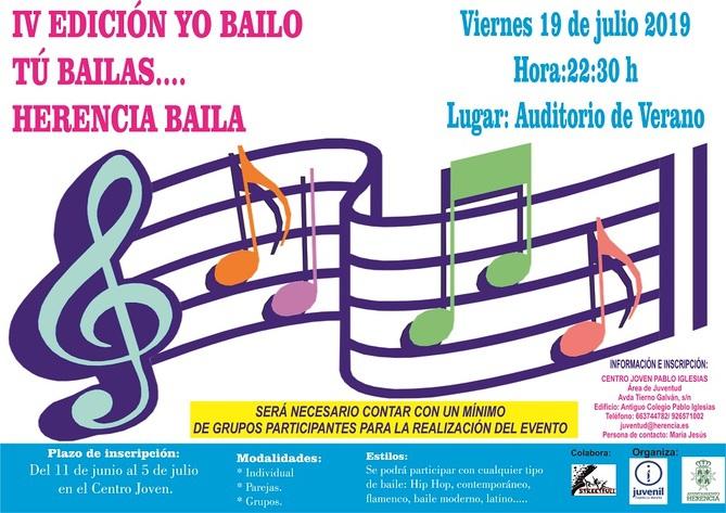 Cartel IV Edición Yo bailo tú bailas - Juventud presenta el cuarto encuentro de danza «Yo bailo, tú bailas…Herencia Baila»