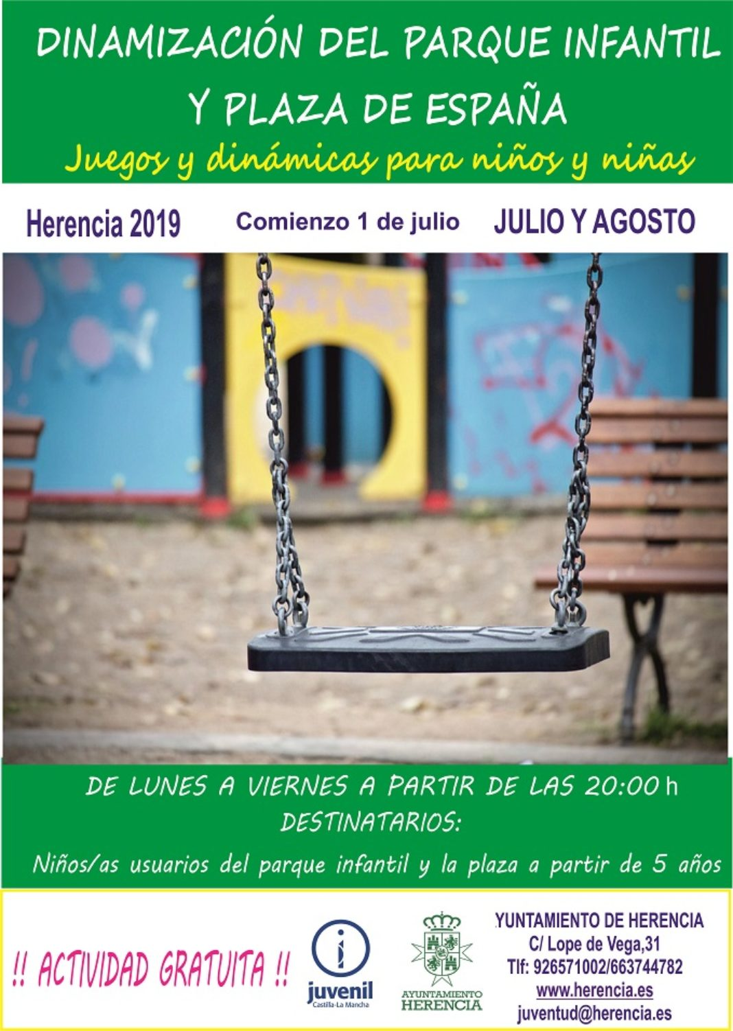 Dinamización parques 2019 1068x1502 - En julio comienza el programa de Dinamización del Parque Infantil y la Plaza de España