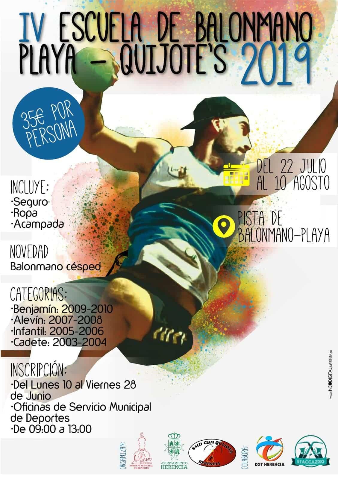 IV escuela de balonmano playa herencia - Abiertas inscripciones para la IV Escuela de Balonmano Playa-Quijote's 2019