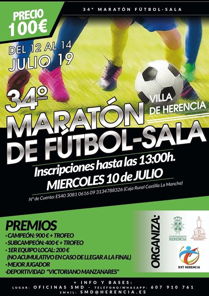 """34 maraton de fútbol sala de Herencia - Abiertas las inscripciones para el 34 maratón de fútbol sala """"Villa de Herencia"""" 2019"""
