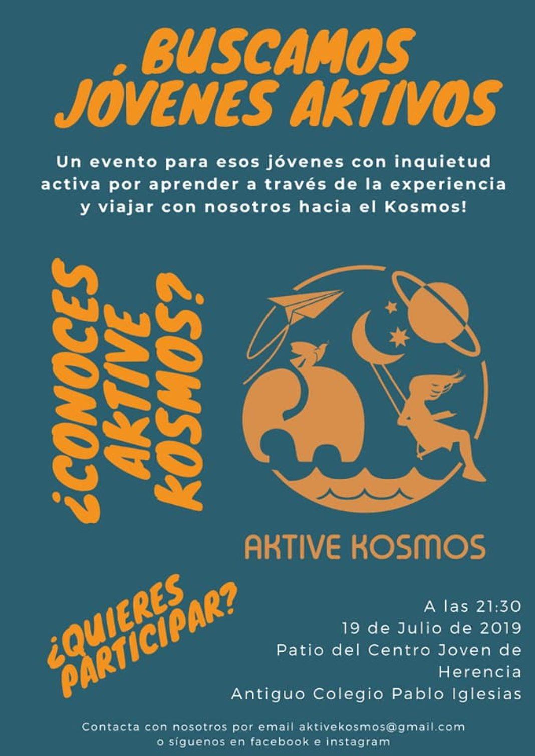 Aktive Kosmos presentación 1068x1510 - Aktive Kosmos presentará los proyectos de su asociación en el Centro Joven