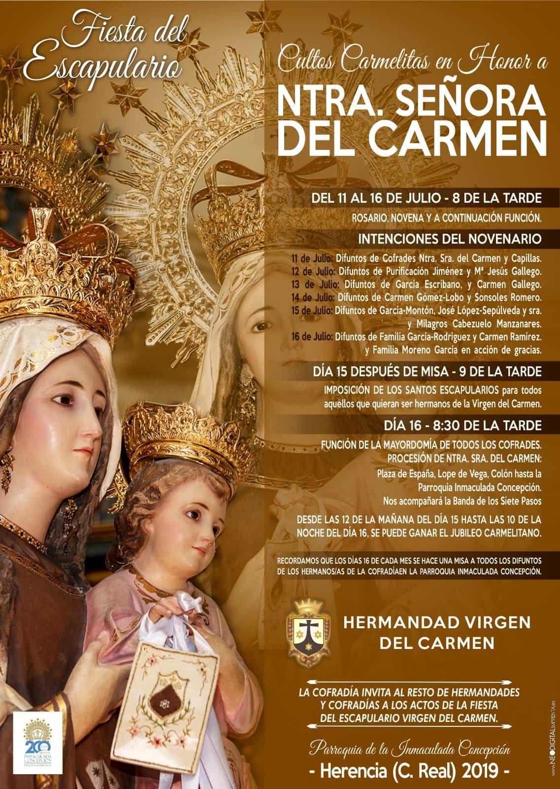 Cultos en honor a la Virgen del Carmen - Fiesta del Escapulario de la Virgen del Carmen en Herencia