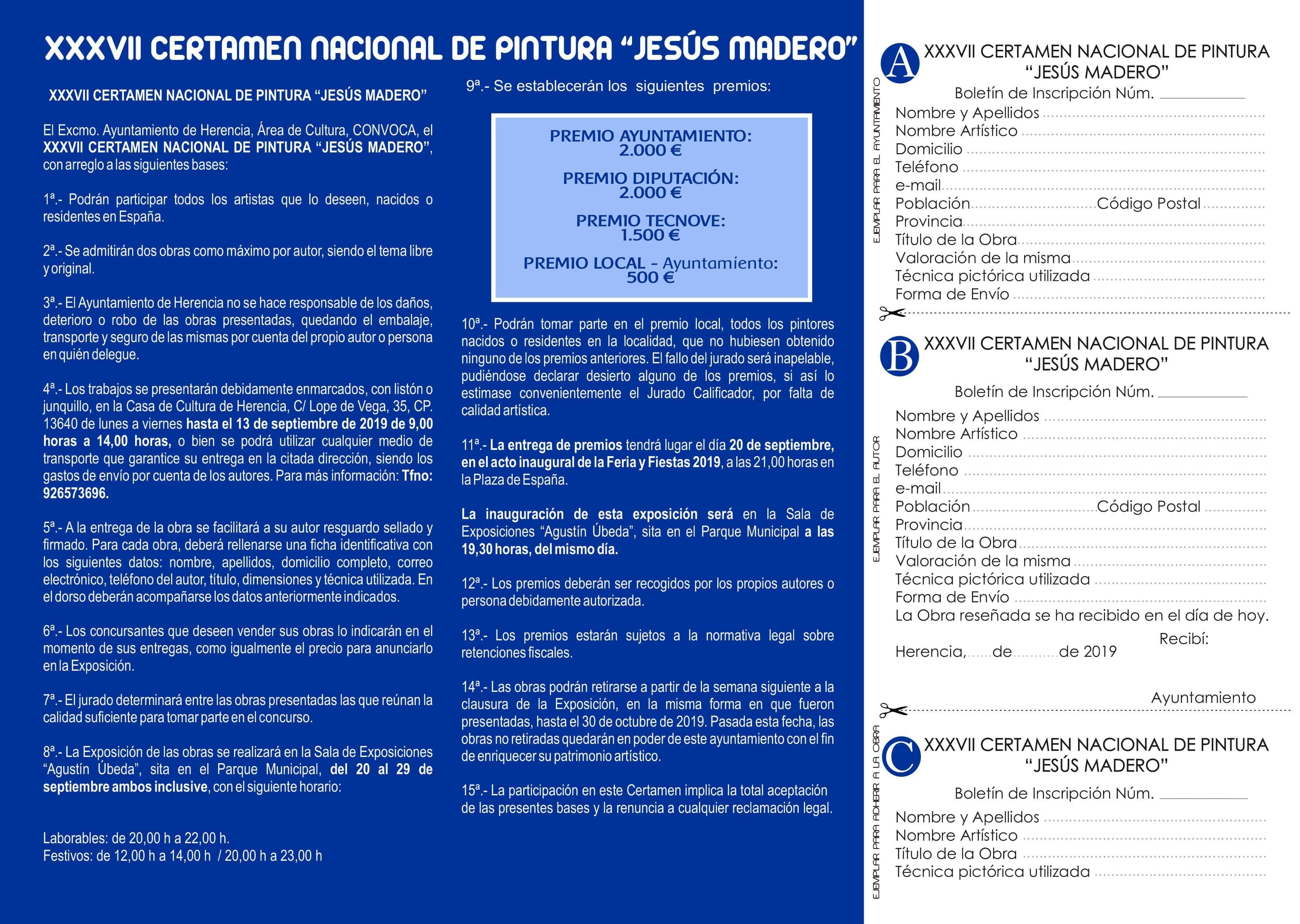 "Bases del Certamen Nacional de Pintura Jesus Madero 2 - Convocado el XXXVII Certamen Nacional de Pintura ""Jesús Madero"""