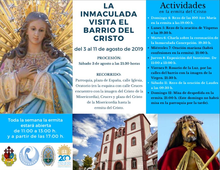 La Inmaculada Concepción visita el barrio del Cristo - La imagen de la Inmaculada Concepción visita el barrio del Cristo