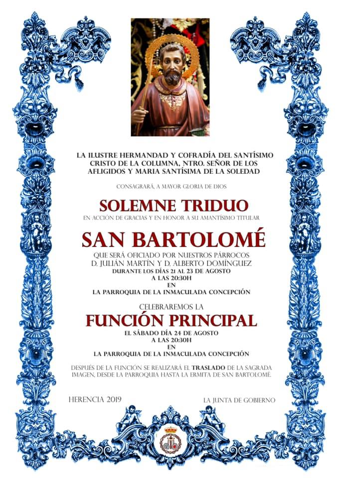 Triduo a San Bartolomé - Herencia prepara las fiestas en honor a San Bartolomé 2019